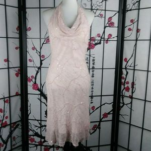 NWT Cache Silk Sequined Halter Dress Baby Pink